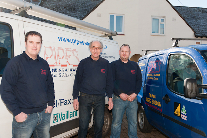 Pipes Ltd of Hertford. Plumbers and Central Heating and Boiler engineers. Picture of crew